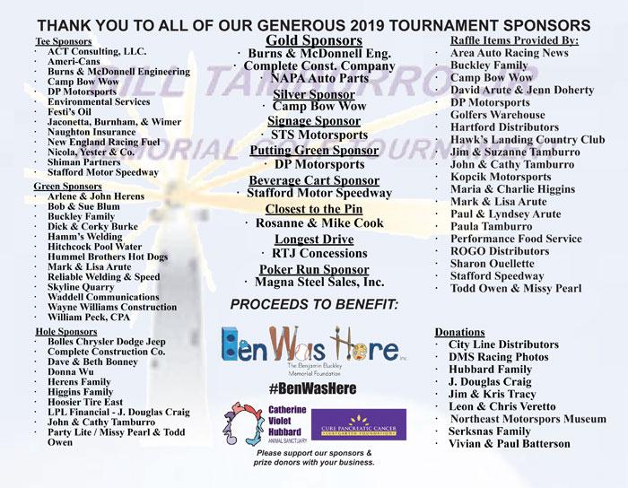 Tamburro Golf Tournament 2019 Sponsors